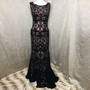 Jovani 52092 Black Velvet Lace Embellished Gown 8